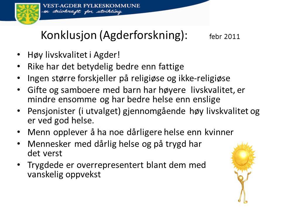 Konklusjon (Agderforskning): febr 2011 • Høy livskvalitet i Agder! • Rike har det betydelig bedre enn fattige • Ingen større forskjeller på religiøse