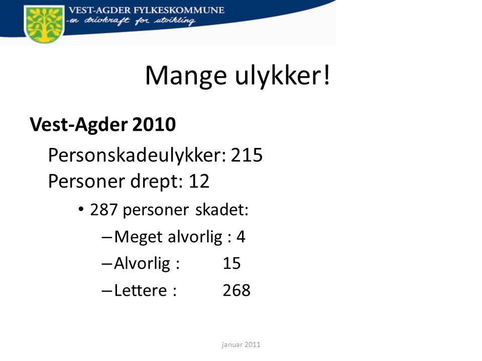 Mange ulykker! Vest-Agder 2010 Personskadeulykker: 215 Personer drept: 12 • 287 personer skadet: – Meget alvorlig : 4 – Alvorlig : 15 – Lettere : 268