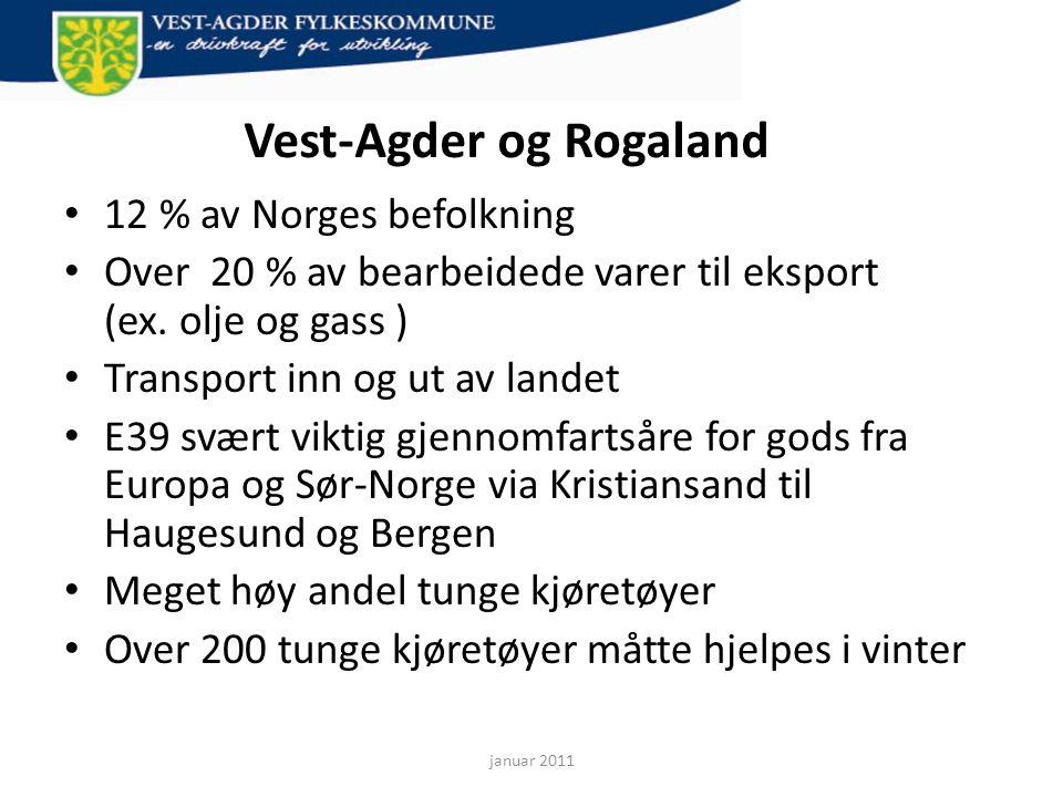 Vest-Agder og Rogaland • 12 % av Norges befolkning • Over 20 % av bearbeidede varer til eksport (ex. olje og gass ) • Transport inn og ut av landet •