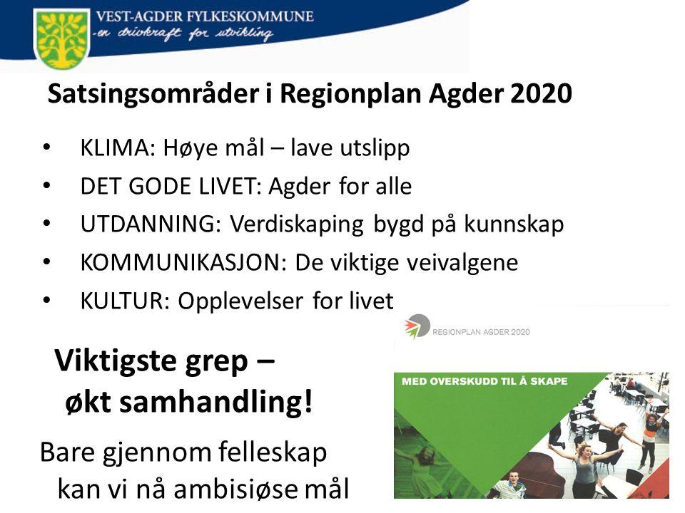 Satsingsområder i Regionplan Agder 2020 • KLIMA: Høye mål – lave utslipp • DET GODE LIVET: Agder for alle • UTDANNING: Verdiskaping bygd på kunnskap •
