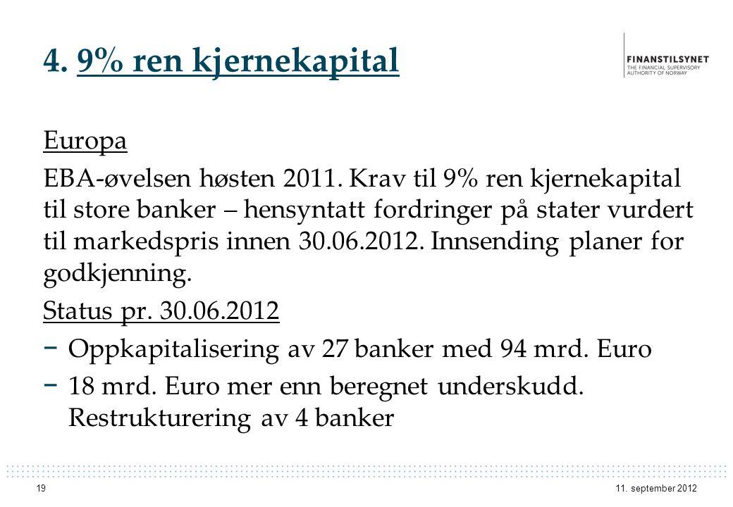 4. 9% ren kjernekapital Europa EBA-øvelsen høsten 2011. Krav til 9% ren kjernekapital til store banker – hensyntatt fordringer på stater vurdert til m