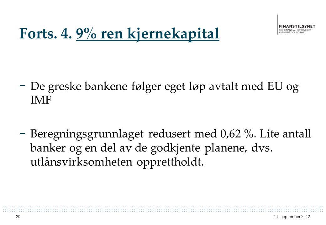 Forts. 4. 9% ren kjernekapital − De greske bankene følger eget løp avtalt med EU og IMF − Beregningsgrunnlaget redusert med 0,62 %. Lite antall banker