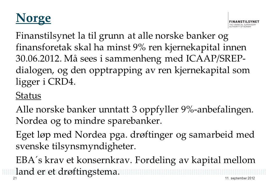 Norge Finanstilsynet la til grunn at alle norske banker og finansforetak skal ha minst 9% ren kjernekapital innen 30.06.2012. Må sees i sammenheng med