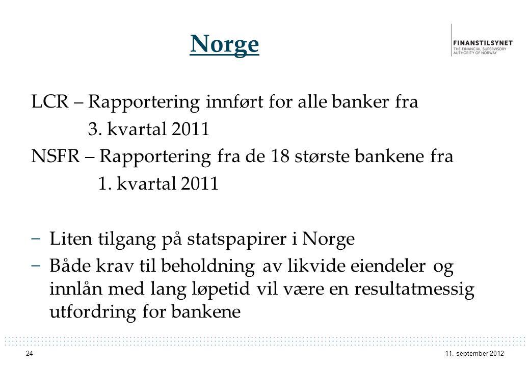 Norge LCR – Rapportering innført for alle banker fra 3. kvartal 2011 NSFR – Rapportering fra de 18 største bankene fra 1. kvartal 2011 −Liten tilgang