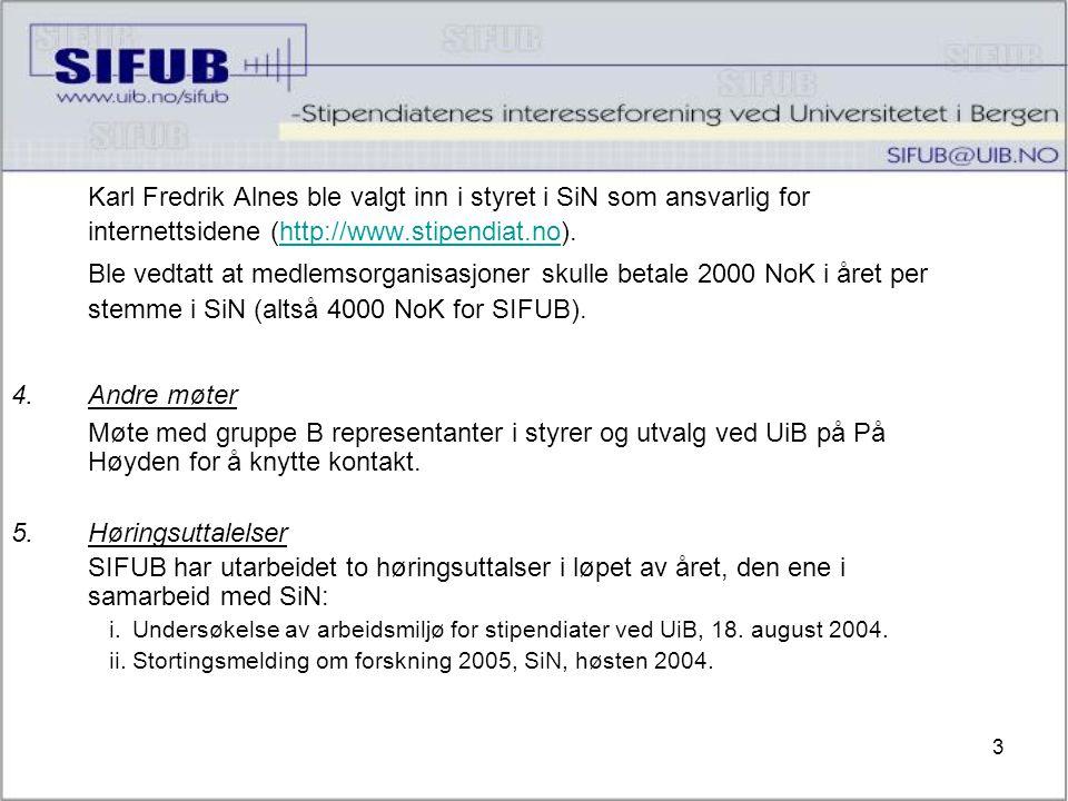 3 Karl Fredrik Alnes ble valgt inn i styret i SiN som ansvarlig for internettsidene (http://www.stipendiat.no).http://www.stipendiat.no Ble vedtatt at medlemsorganisasjoner skulle betale 2000 NoK i året per stemme i SiN (altså 4000 NoK for SIFUB).