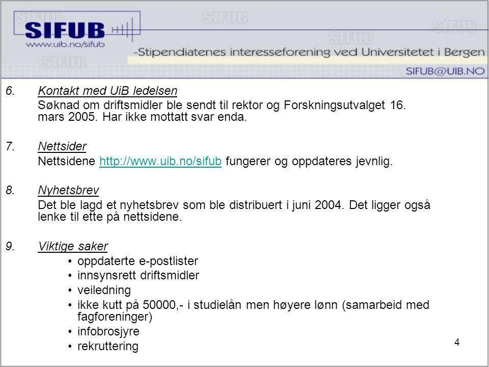 4 6.Kontakt med UiB ledelsen Søknad om driftsmidler ble sendt til rektor og Forskningsutvalget 16.