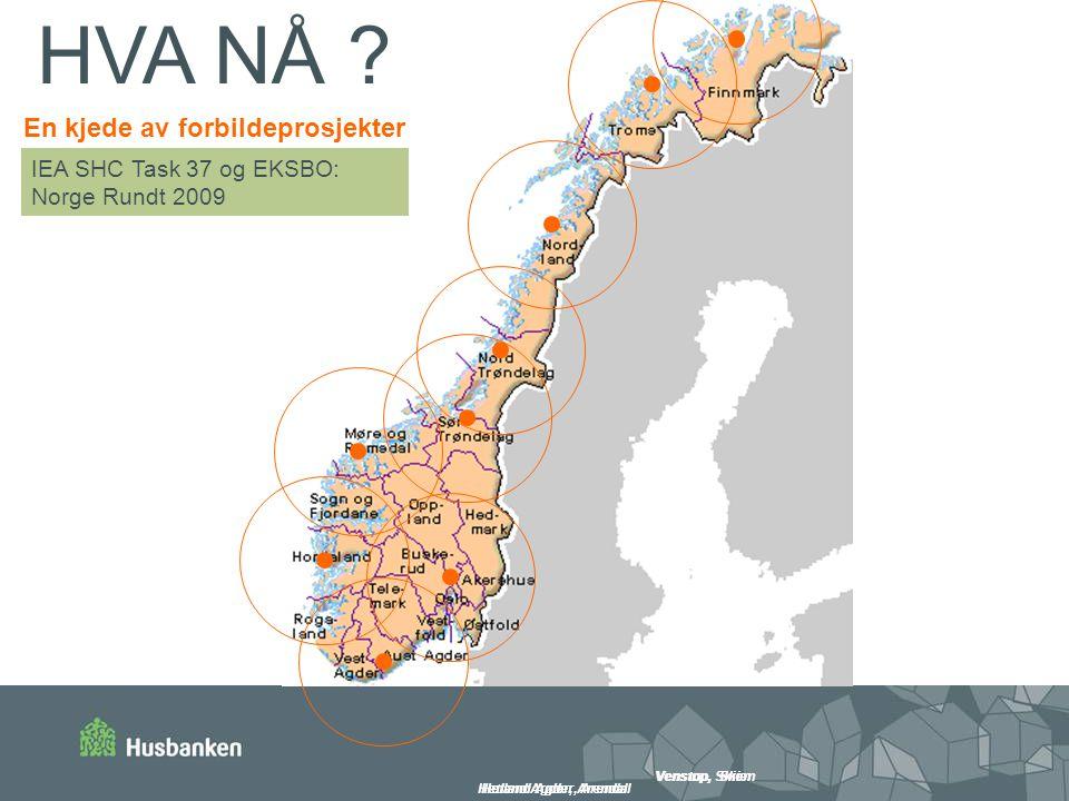 I-BOX, Tromsø Hetland Agder, Arendal Venstøp, Skien Hetland Agder, Arendal IEA SHC Task 37 og EKSBO: Norge Rundt 2009 En kjede av forbildeprosjekter HVA NÅ