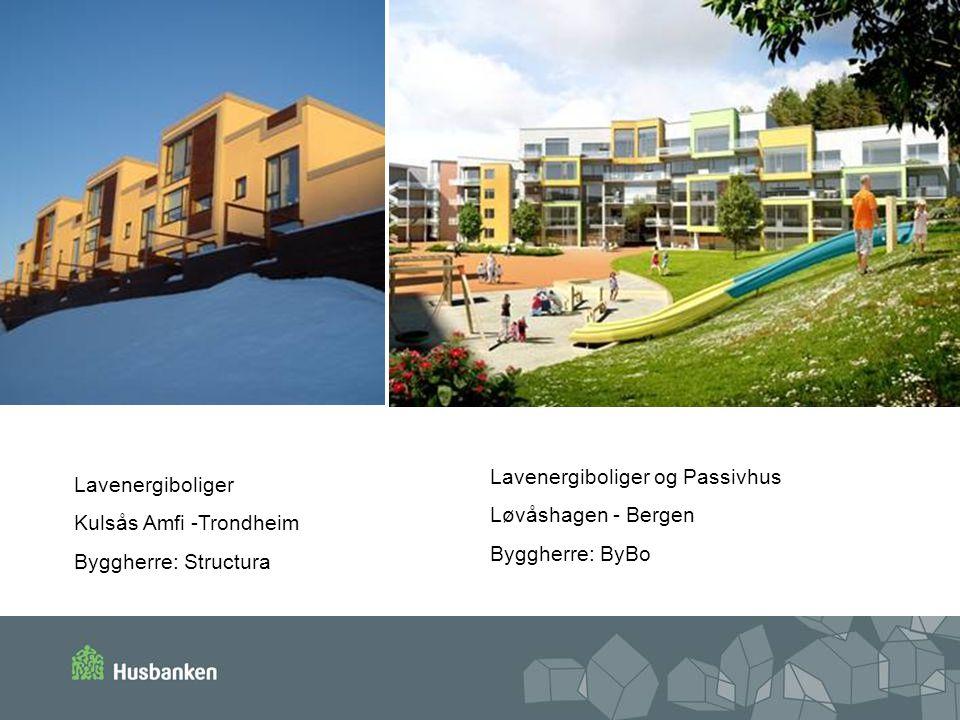 Lavenergiboliger og Passivhus Løvåshagen - Bergen Byggherre: ByBo Lavenergiboliger Kulsås Amfi -Trondheim Byggherre: Structura