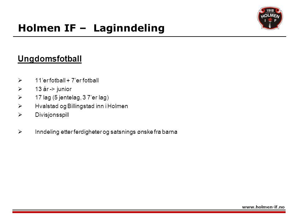 Holmen IF – Laginndeling 7'er fotball  11 og 12 år  15 lag (4 jentelag) www.holmen-if.no Barnefotball Basert på foreldretrenere 5'er fotball  7 - 10 år  23 lag (11 jentelag)