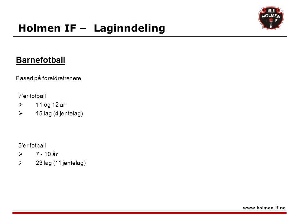Holmen IF – Laginndeling 7'er fotball  11 og 12 år  15 lag (4 jentelag) www.holmen-if.no Barnefotball Basert på foreldretrenere 5'er fotball  7 - 1
