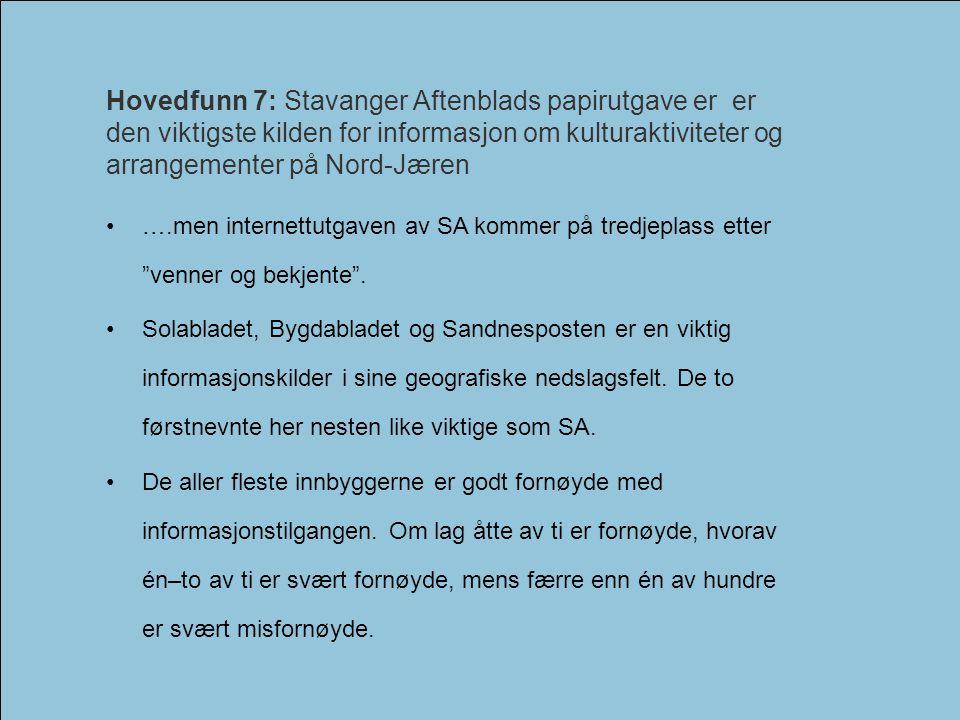 Kulturundersøkelsen for Nord-Jæren 2006Interkommunalt kulturråd - Nord-Jæren Hovedfunn 7: Stavanger Aftenblads papirutgave er er den viktigste kilden