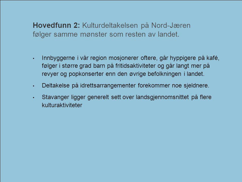 Kulturundersøkelsen for Nord-Jæren 2006Interkommunalt kulturråd - Nord-Jæren • Innbyggerne i vår region mosjonerer oftere, går hyppigere på kafé, følg