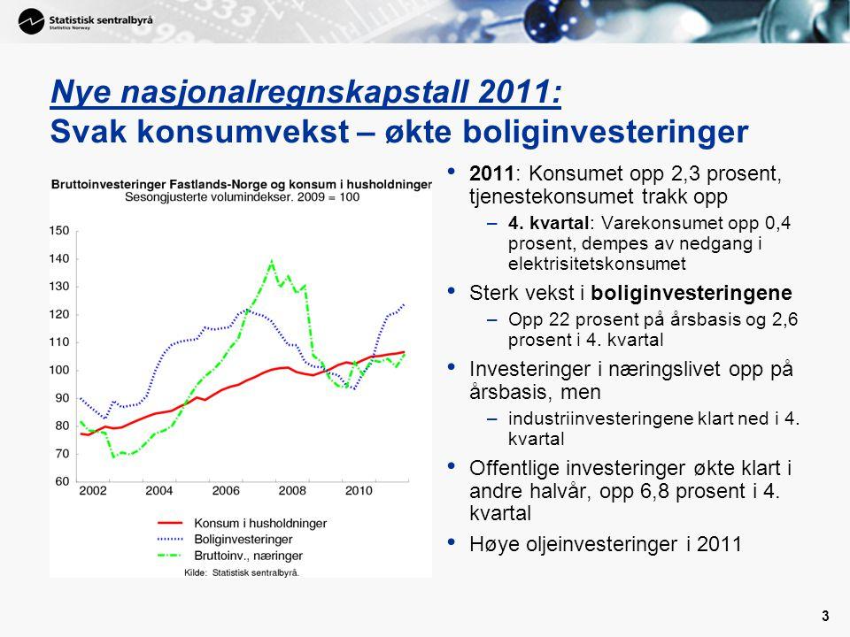 4 Nye nasjonalregnskapstall 2011: Sterk vekst i disponibel realinntekt for Norge • 2011: eksportoverskudd på 377 mrd kroner, 65 mrd kroner mer enn i 2010 –Nedgang i eksportvolumet i 2011, og tradisjonelle varer ned 4,9 prosent i 4.