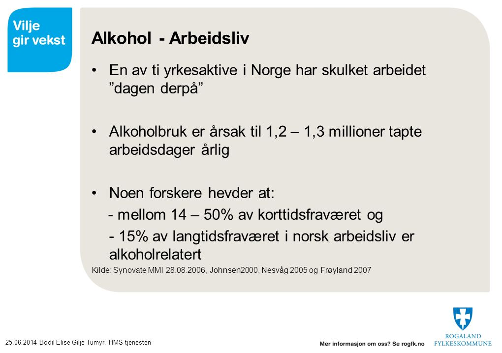 """25.06.2014Bodil Elise Gilje Tumyr. HMS tjenesten Alkohol - Arbeidsliv •En av ti yrkesaktive i Norge har skulket arbeidet """"dagen derpå"""" •Alkoholbruk er"""