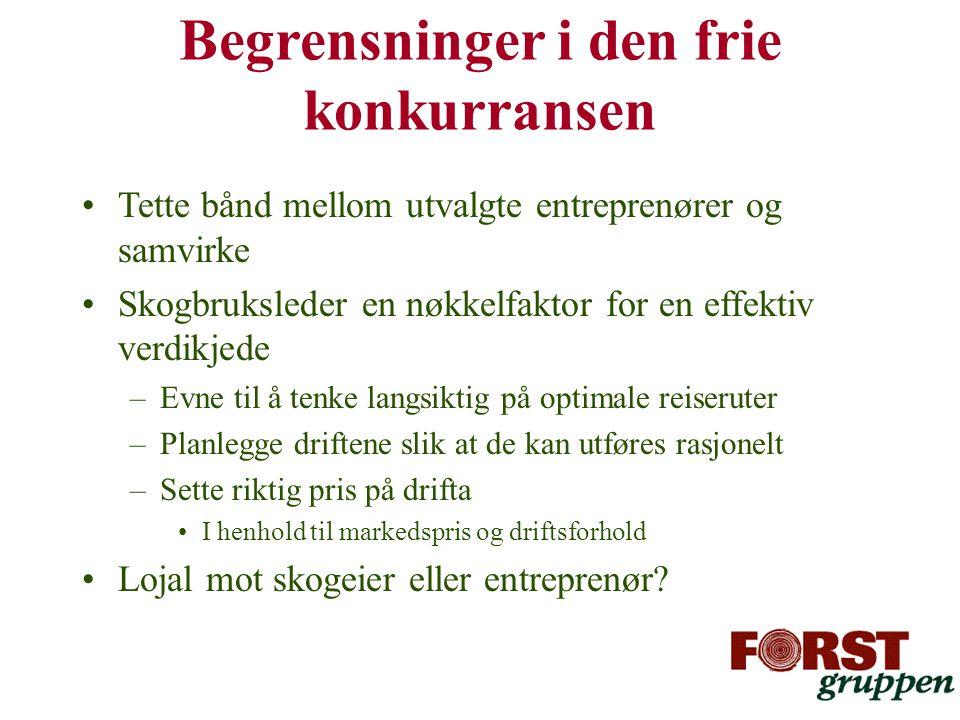 •Tette bånd mellom utvalgte entreprenører og samvirke •Skogbruksleder en nøkkelfaktor for en effektiv verdikjede –Evne til å tenke langsiktig på optim