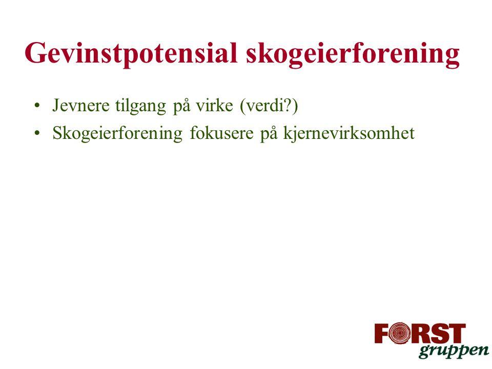 Gevinstpotensial skogeierforening •Jevnere tilgang på virke (verdi?) •Skogeierforening fokusere på kjernevirksomhet
