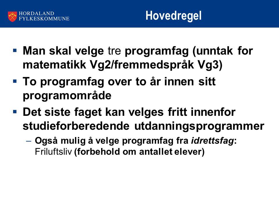 Hovedregel  Man skal velge tre programfag (unntak for matematikk Vg2/fremmedspråk Vg3)  To programfag over to år innen sitt programområde  Det sist