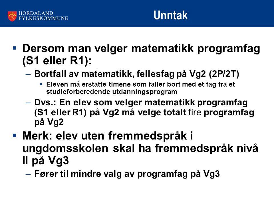 Unntak  Dersom man velger matematikk programfag (S1 eller R1): –Bortfall av matematikk, fellesfag på Vg2 (2P/2T)  Eleven må erstatte timene som fall