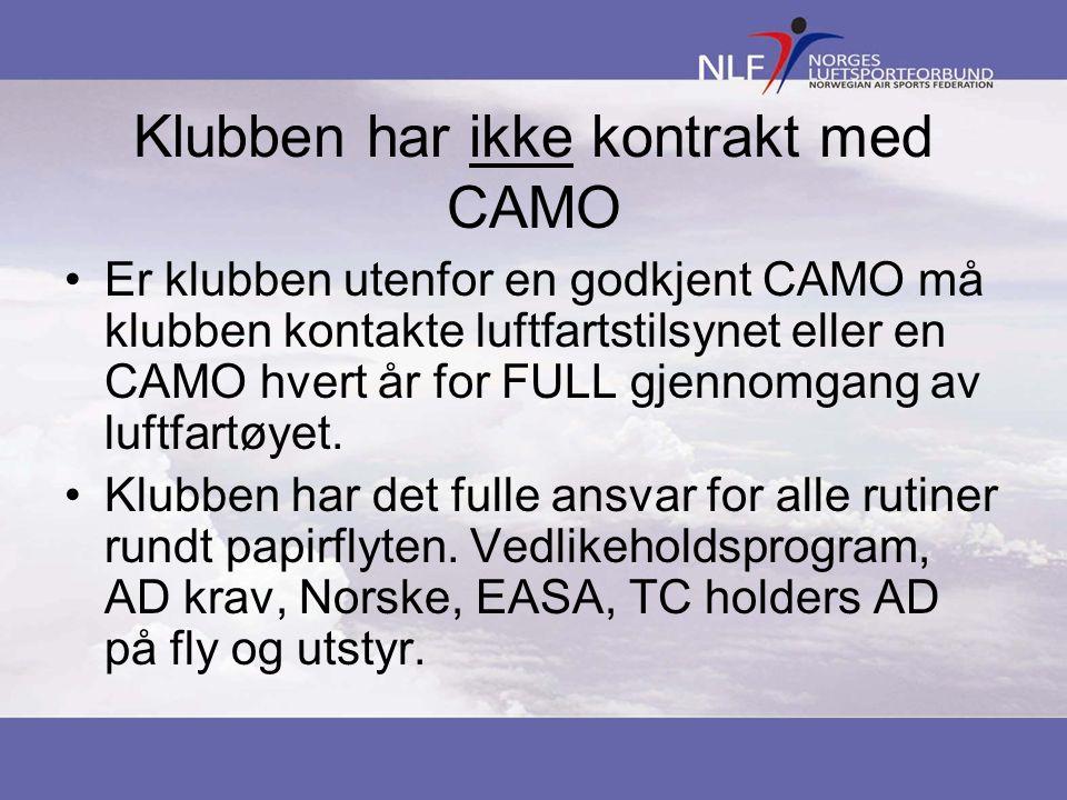 Klubben har ikke kontrakt med CAMO •Er klubben utenfor en godkjent CAMO må klubben kontakte luftfartstilsynet eller en CAMO hvert år for FULL gjennomgang av luftfartøyet.
