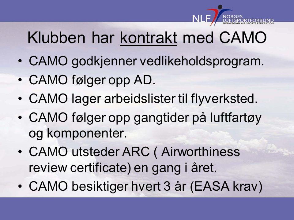 Klubben har kontrakt med CAMO •CAMO godkjenner vedlikeholdsprogram.