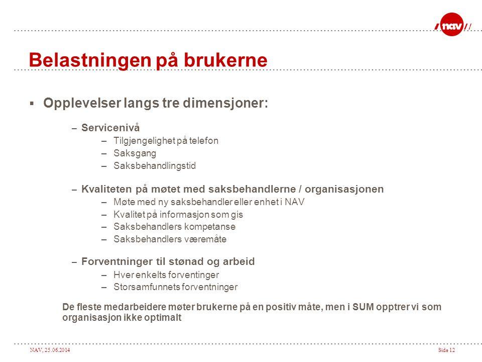 NAV, 25.06.2014Side 12 Belastningen på brukerne  Opplevelser langs tre dimensjoner: – Servicenivå –Tilgjengelighet på telefon –Saksgang –Saksbehandli