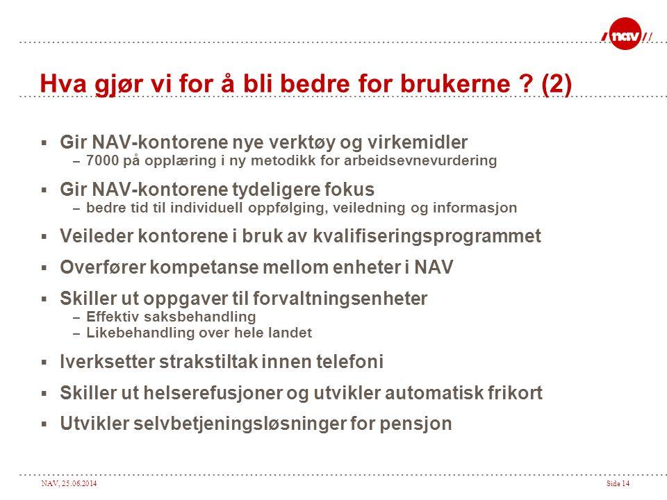 NAV, 25.06.2014Side 14 Hva gjør vi for å bli bedre for brukerne ? (2)  Gir NAV-kontorene nye verktøy og virkemidler – 7000 på opplæring i ny metodikk