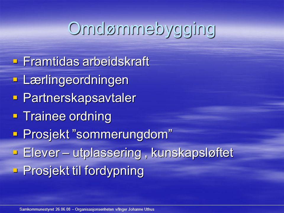 Samkommunestyret 26.06.08 – Organisasjonsenheten v/Inger Johanne Uthus Omdømmebygging  Framtidas arbeidskraft  Lærlingeordningen  Partnerskapsavtal