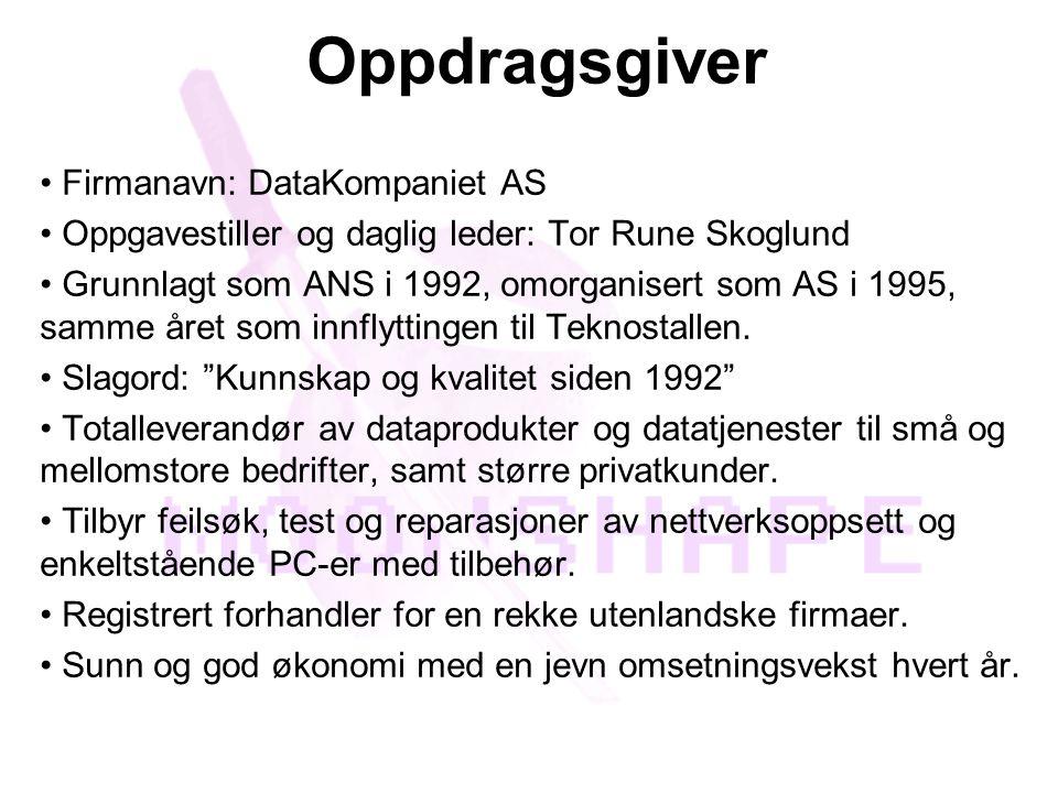 Oppdragsgiver • Firmanavn: DataKompaniet AS • Oppgavestiller og daglig leder: Tor Rune Skoglund • Grunnlagt som ANS i 1992, omorganisert som AS i 1995, samme året som innflyttingen til Teknostallen.