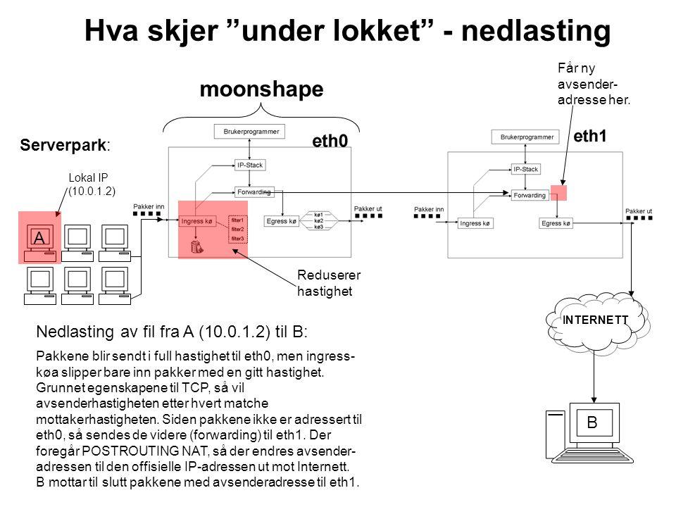 Hva skjer under lokket - opplasting Serverpark: INTERNETT A Får ny mottaker- adresse her.