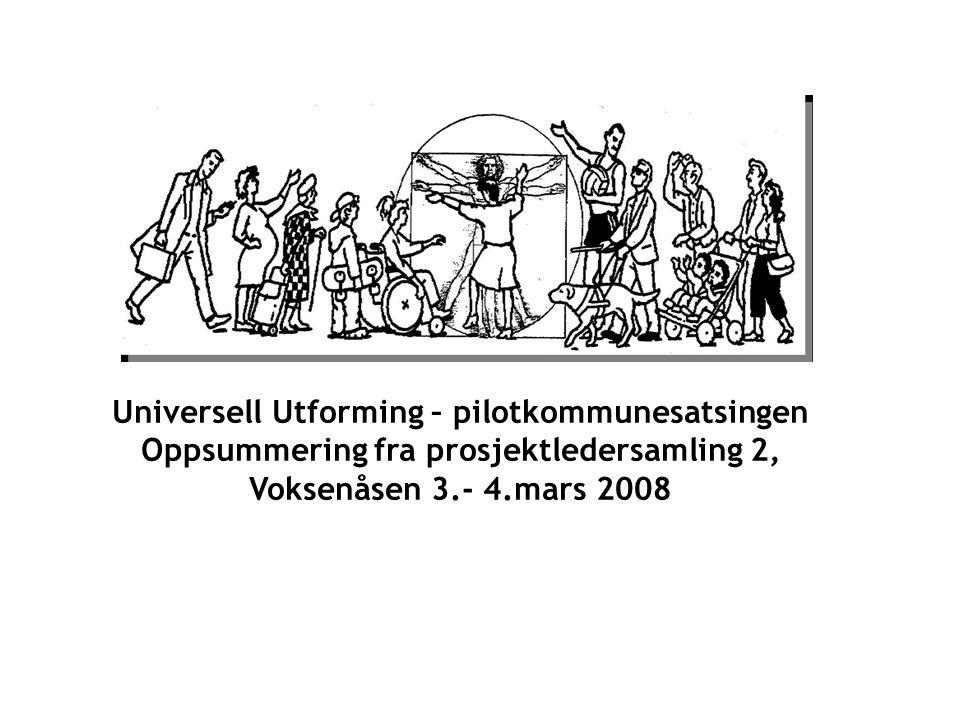 Universell Utforming – pilotkommunesatsingen Oppsummering fra prosjektledersamling 2, Voksenåsen 3.- 4.mars 2008
