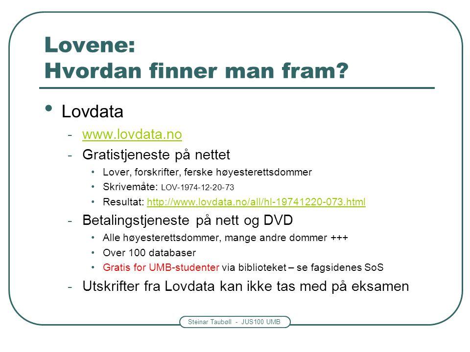 Steinar Taubøll - JUS100 UMB Lovene: Hvordan finner man fram? • Lovdata -www.lovdata.nowww.lovdata.no -Gratistjeneste på nettet •Lover, forskrifter, f