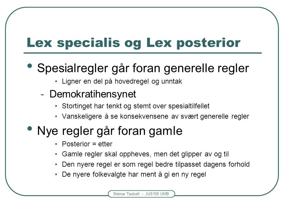 Steinar Taubøll - JUS100 UMB Lex specialis og Lex posterior • Spesialregler går foran generelle regler •Ligner en del på hovedregel og unntak -Demokra