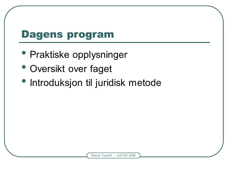 Steinar Taubøll - JUS100 UMB Dagens program • Praktiske opplysninger • Oversikt over faget • Introduksjon til juridisk metode