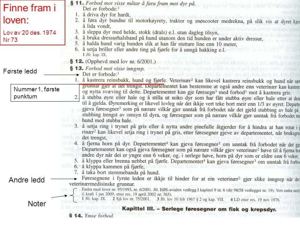 Finne fram i loven: Lov av 20 des. 1974 Nr 73 Første ledd Andre ledd Noter Nummer 1, første punktum