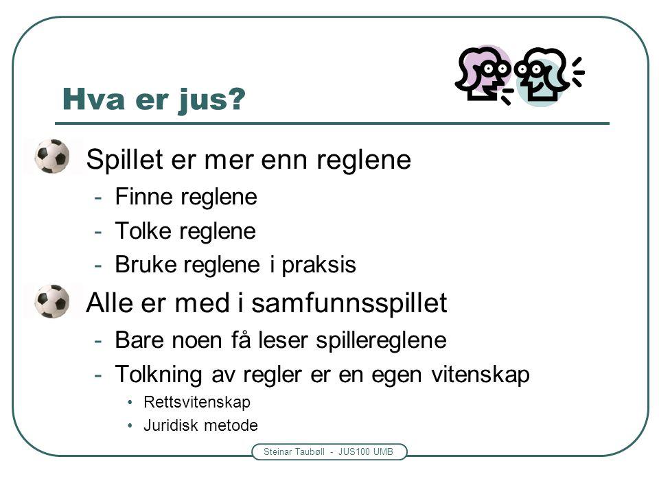 Steinar Taubøll - JUS100 UMB Hva er jus? • Spillet er mer enn reglene -Finne reglene -Tolke reglene -Bruke reglene i praksis • Alle er med i samfunnss