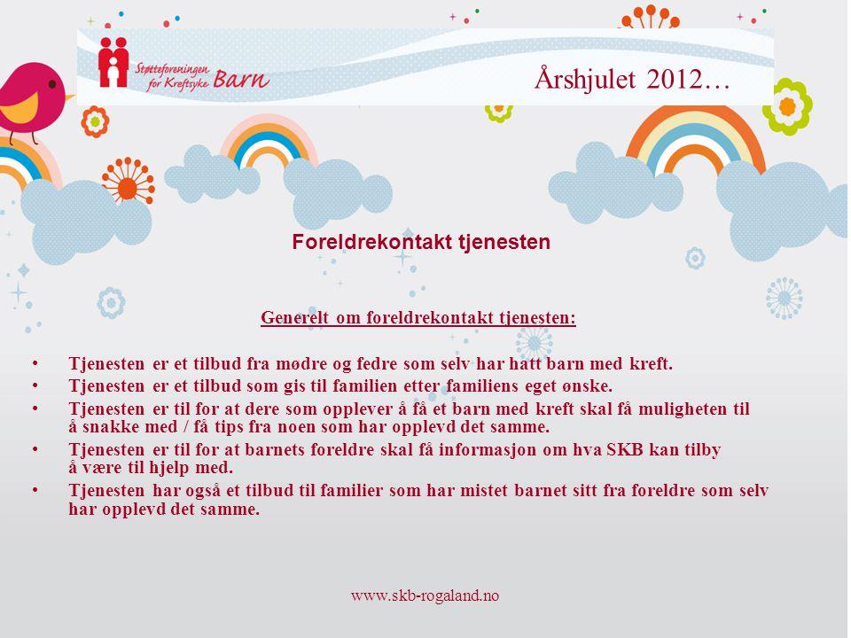 www.skb-rogaland.no Årshjulet 2012… Generelt om foreldrekontakt tjenesten: • Tjenesten er et tilbud fra mødre og fedre som selv har hatt barn med kref