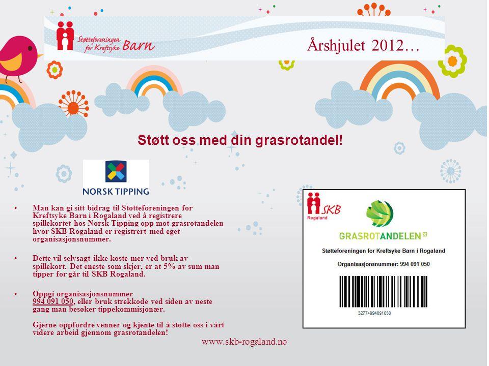 www.skb-rogaland.no Årshjulet 2012… •Man kan gi sitt bidrag til Støtteforeningen for Kreftsyke Barn i Rogaland ved å registrere spillekortet hos Norsk
