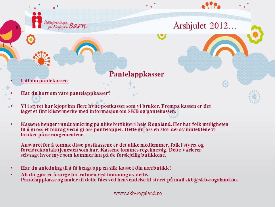www.skb-rogaland.no Årshjulet 2012… •Litt om pantekasser: •Har du hørt om våre pantelappkasser? •Vi i styret har kjøpt inn flere hvite postkasser som