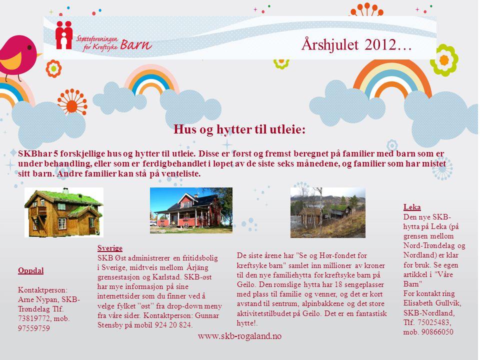 www.skb-rogaland.no Årshjulet 2012… SKBhar 5 forskjellige hus og hytter til utleie. Disse er først og fremst beregnet på familier med barn som er unde