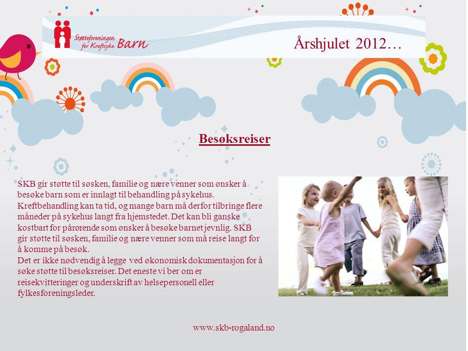 www.skb-rogaland.no Årshjulet 2012… Besøksreiser SKB gir støtte til søsken, familie og nære venner som ønsker å besøke barn som er innlagt til behandl