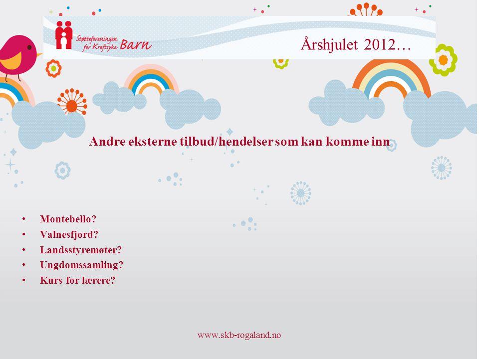www.skb-rogaland.no Årshjulet 2012… •Montebello? •Valnesfjord? •Landsstyremøter? •Ungdomssamling? •Kurs for lærere? Andre eksterne tilbud/hendelser so