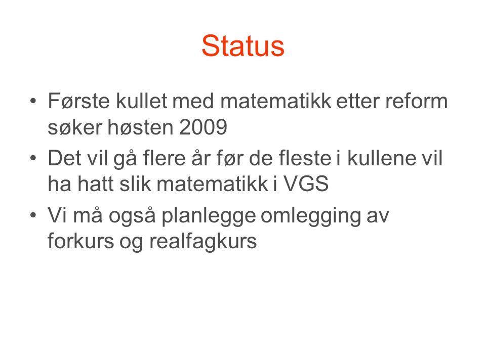 Status •Første kullet med matematikk etter reform søker høsten 2009 •Det vil gå flere år før de fleste i kullene vil ha hatt slik matematikk i VGS •Vi