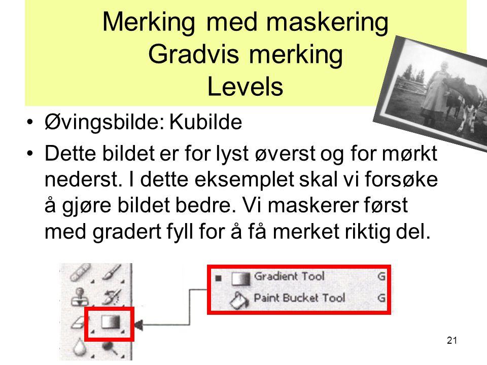 21 Merking med maskering Gradvis merking Levels •Øvingsbilde: Kubilde •Dette bildet er for lyst øverst og for mørkt nederst. I dette eksemplet skal vi