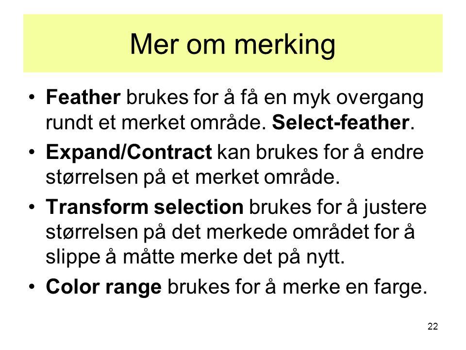 22 Mer om merking •Feather brukes for å få en myk overgang rundt et merket område. Select-feather. •Expand/Contract kan brukes for å endre størrelsen
