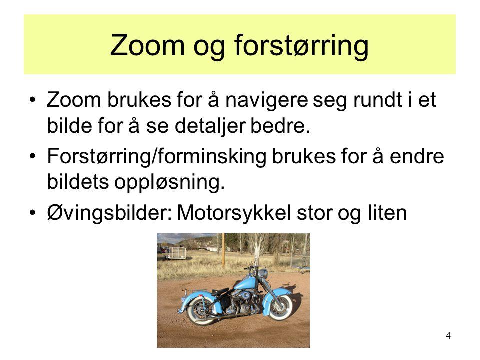 4 Zoom og forstørring •Zoom brukes for å navigere seg rundt i et bilde for å se detaljer bedre. •Forstørring/forminsking brukes for å endre bildets op