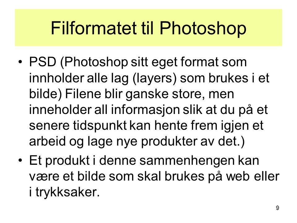 9 Filformatet til Photoshop •PSD (Photoshop sitt eget format som innholder alle lag (layers) som brukes i et bilde) Filene blir ganske store, men inneholder all informasjon slik at du på et senere tidspunkt kan hente frem igjen et arbeid og lage nye produkter av det.) •Et produkt i denne sammenhengen kan være et bilde som skal brukes på web eller i trykksaker.