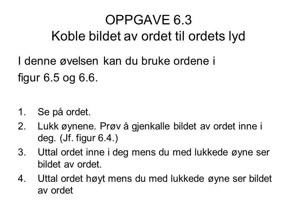OPPGAVE 6.3 Koble bildet av ordet til ordets lyd I denne øvelsen kan du bruke ordene i figur 6.5 og 6.6.