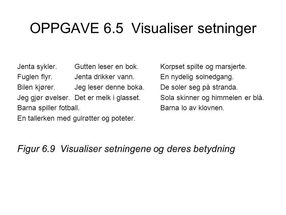 OPPGAVE 6.5 Visualiser setninger Jenta sykler.Gutten leser en bok.Korpset spilte og marsjerte.