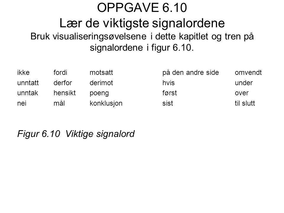 OPPGAVE 6.10 Lær de viktigste signalordene Bruk visualiseringsøvelsene i dette kapitlet og tren på signalordene i figur 6.10.