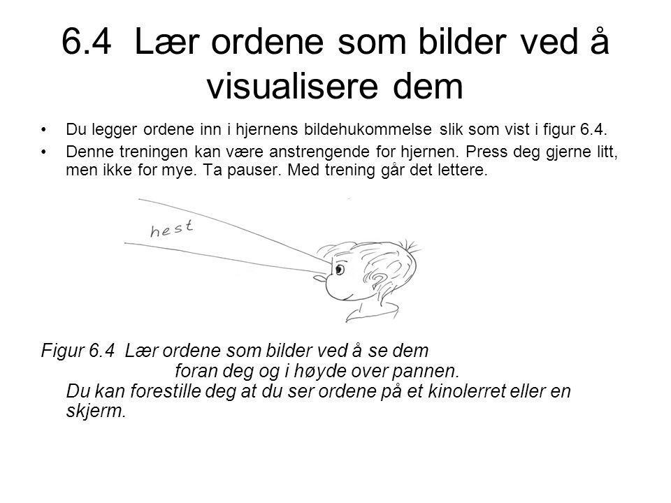 6.4 Lær ordene som bilder ved å visualisere dem •Du legger ordene inn i hjernens bildehukommelse slik som vist i figur 6.4.